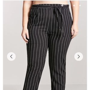 03803c7ccb5 Forever 21 Pants - Plus Size Belted Pinstripe Woven Pants